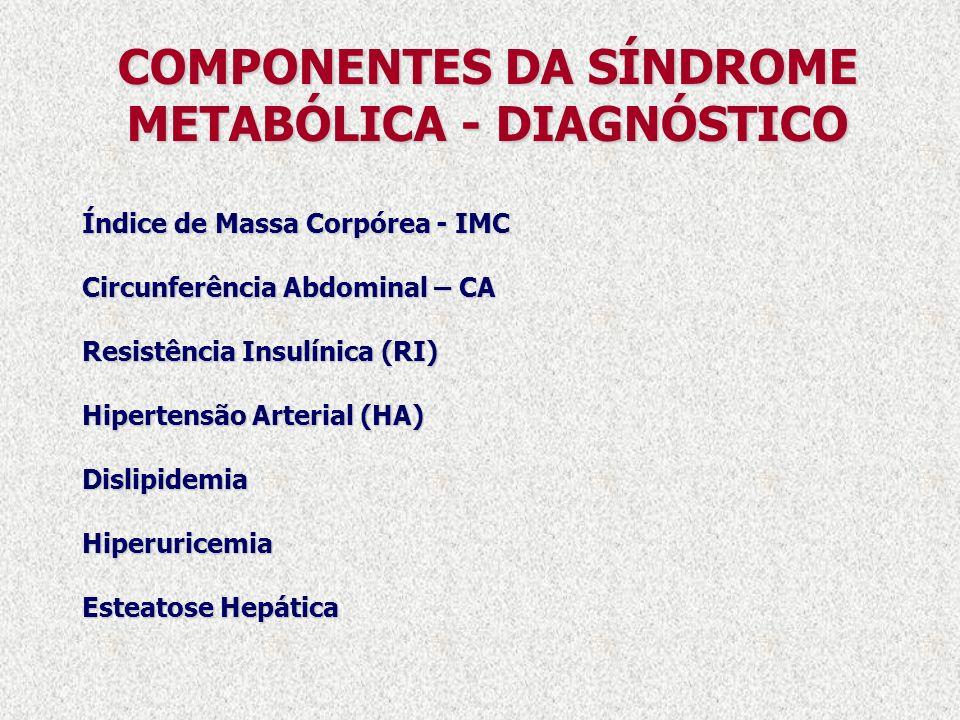 COMPONENTES DA SÍNDROME METABÓLICA - DIAGNÓSTICO Índice de Massa Corpórea - IMC Circunferência Abdominal – CA Resistência Insulínica (RI) Hipertensão