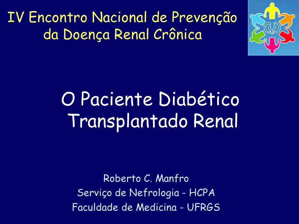 IV Encontro Nacional de Prevenção da Doença Renal Crônica O Paciente Diabético Transplantado Renal Roberto C. Manfro Serviço de Nefrologia - HCPA Facu