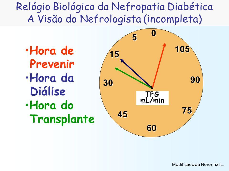 5 30 45 105 75 90 60 15 0 Hora de Prevenir Hora da Diálise Hora do Transplante TFG mL/min Relógio Biológico da Nefropatia Diabética A Visão do Nefrolo
