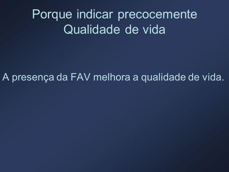 Porque indicar precocemente Qualidade de vida A presença da FAV melhora a qualidade de vida.