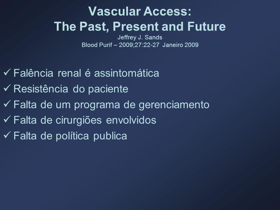 Vascular Access: The Past, Present and Future Jeffrey J. Sands Blood Purif – 2009;27:22-27 Janeiro 2009 Falência renal é assintomática Resistência do