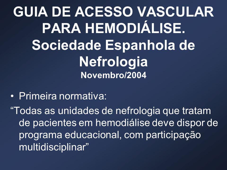 GUIA DE ACESSO VASCULAR PARA HEMODIÁLISE. Sociedade Espanhola de Nefrologia Novembro/2004 Primeira normativa: Todas as unidades de nefrologia que trat
