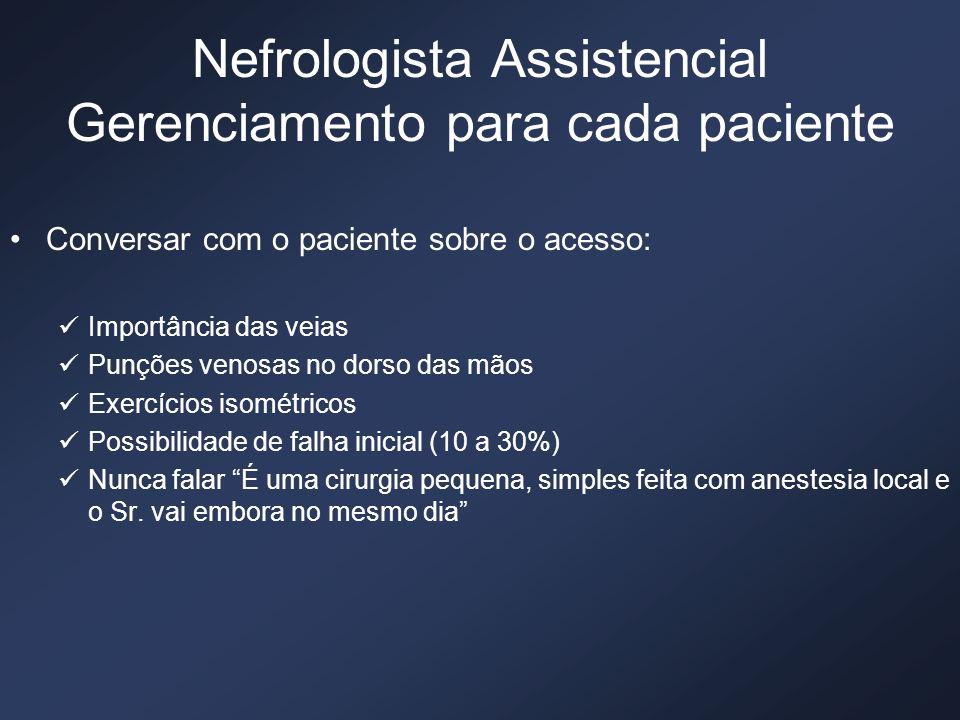 Nefrologista Assistencial Gerenciamento para cada paciente Conversar com o paciente sobre o acesso: Importância das veias Punções venosas no dorso das