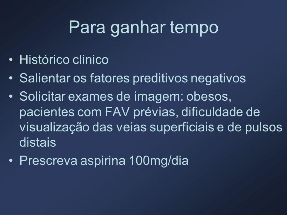 Para ganhar tempo Histórico clinico Salientar os fatores preditivos negativos Solicitar exames de imagem: obesos, pacientes com FAV prévias, dificulda