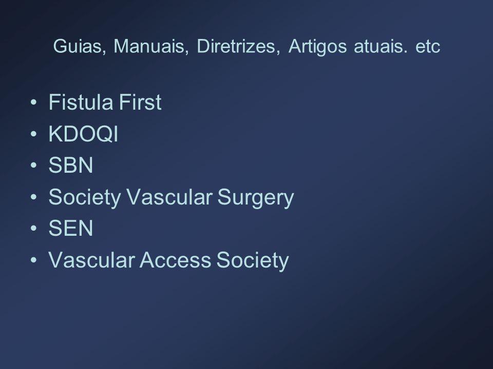 Guias, Manuais, Diretrizes, Artigos atuais. etc Fistula First KDOQI SBN Society Vascular Surgery SEN Vascular Access Society
