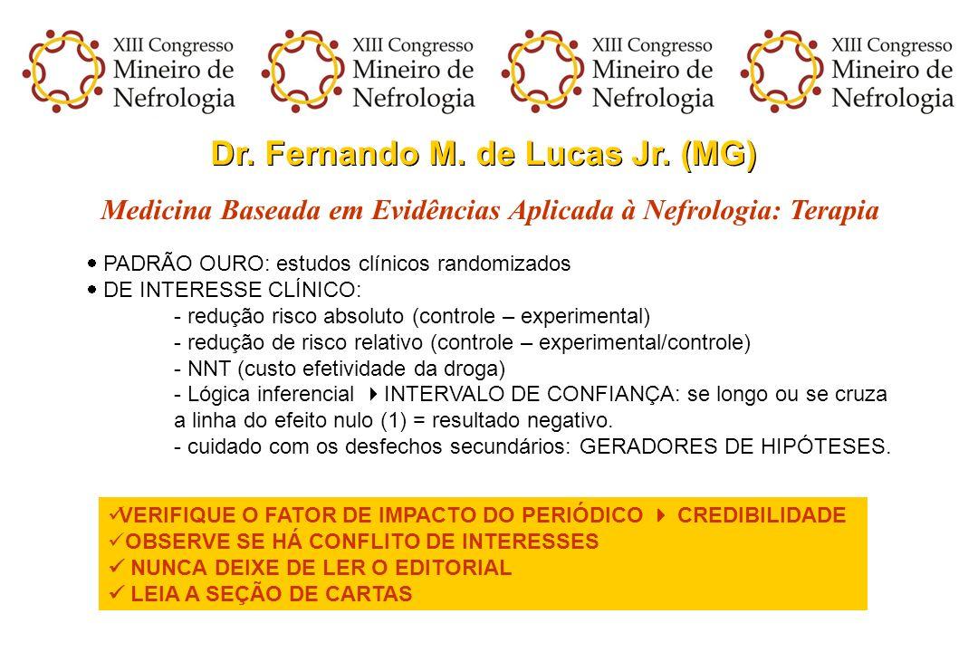 Dr. Fernando M. de Lucas Jr. (MG) Medicina Baseada em Evidências Aplicada à Nefrologia: Terapia PADRÃO OURO: estudos clínicos randomizados DE INTERESS
