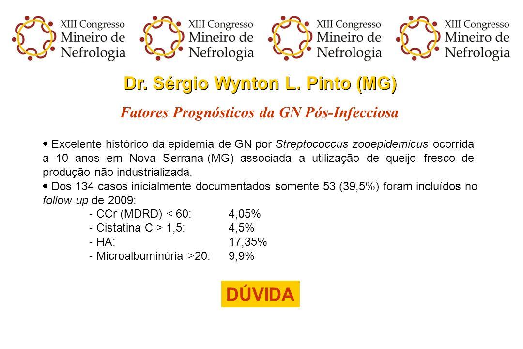 Dr. Sérgio Wynton L. Pinto (MG) Fatores Prognósticos da GN Pós-Infecciosa Excelente histórico da epidemia de GN por Streptococcus zooepidemicus ocorri