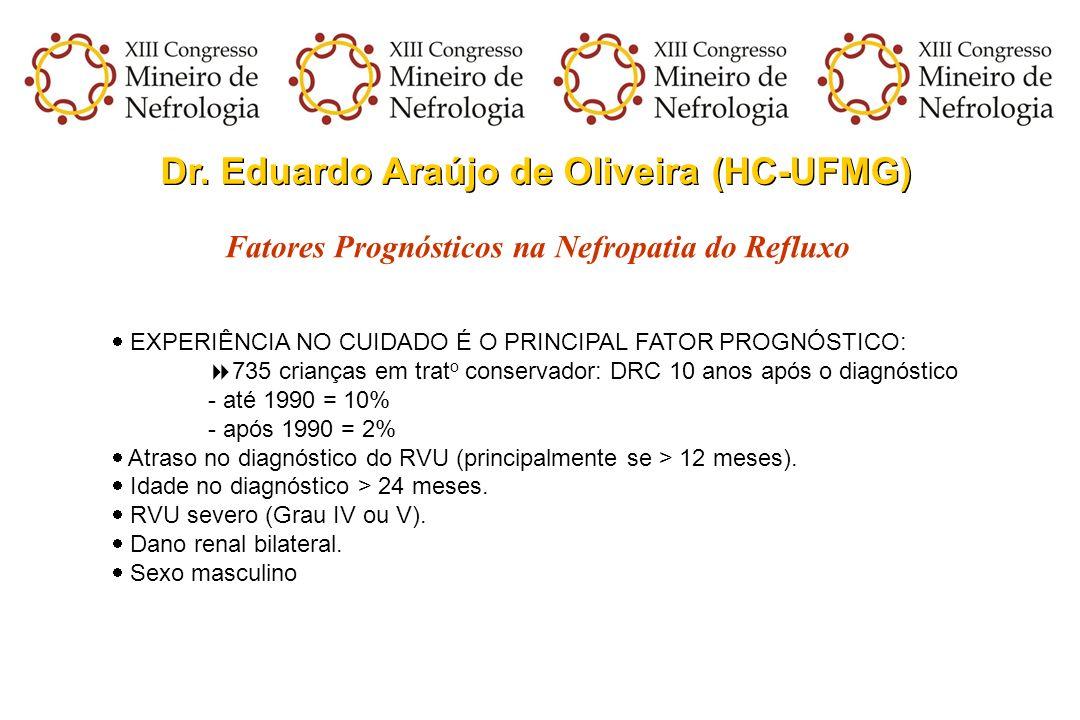 Dr. Eduardo Araújo de Oliveira (HC-UFMG) Fatores Prognósticos na Nefropatia do Refluxo EXPERIÊNCIA NO CUIDADO É O PRINCIPAL FATOR PROGNÓSTICO: 735 cri