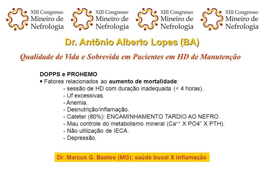 Dr. Antônio Alberto Lopes (BA) Qualidade de Vida e Sobrevida em Pacientes em HD de Manutenção DOPPS e PROHEMO Fatores relacionados ao aumento de morta