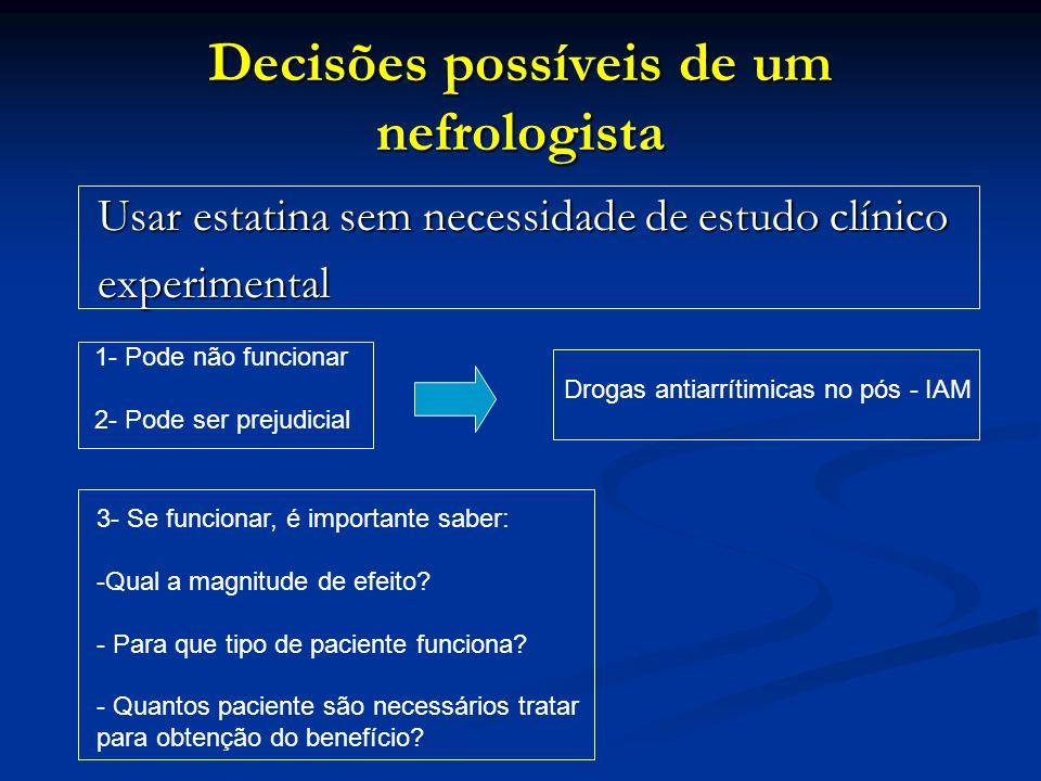 Decisões possíveis de um nefrologista Usar estatina sem necessidade de estudo clínico Usar estatina sem necessidade de estudo clínico experimental exp