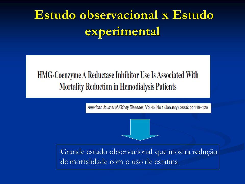 Estudo observacional x Estudo experimental Estudo observacional x Estudo experimental Grande estudo observacional que mostra redução de mortalidade co