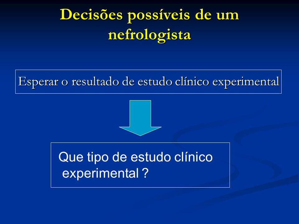 Decisões possíveis de um nefrologista Esperar o resultado de estudo clínico experimental Que tipo de estudo clínico experimental ?