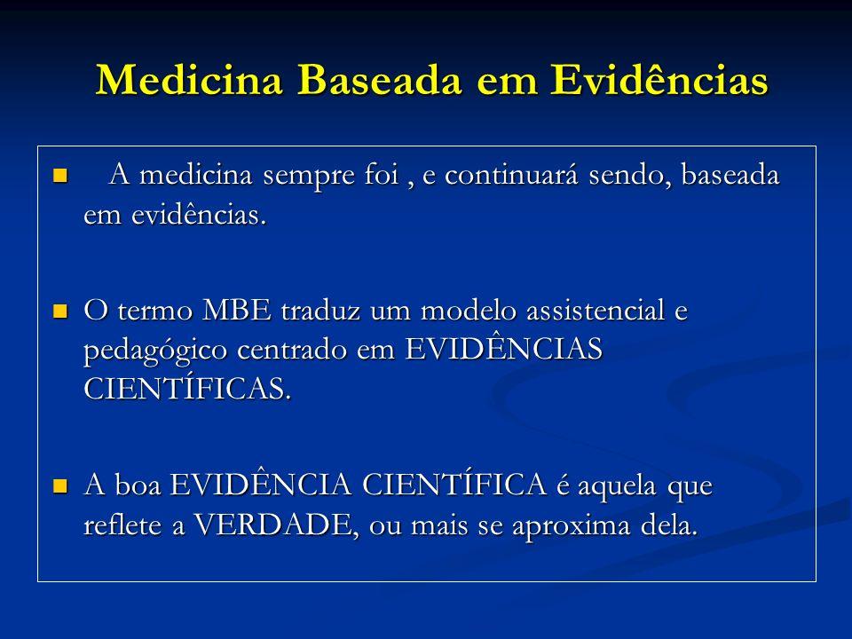 Medicina Baseada em Evidências Medicina Baseada em Evidências A medicina sempre foi, e continuará sendo, baseada em evidências. A medicina sempre foi,