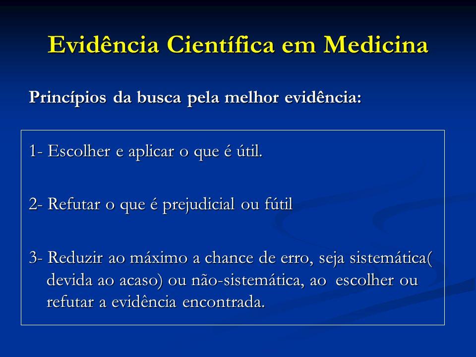 Evidência Científica em Medicina Princípios da busca pela melhor evidência: 1- Escolher e aplicar o que é útil. 2- Refutar o que é prejudicial ou fúti
