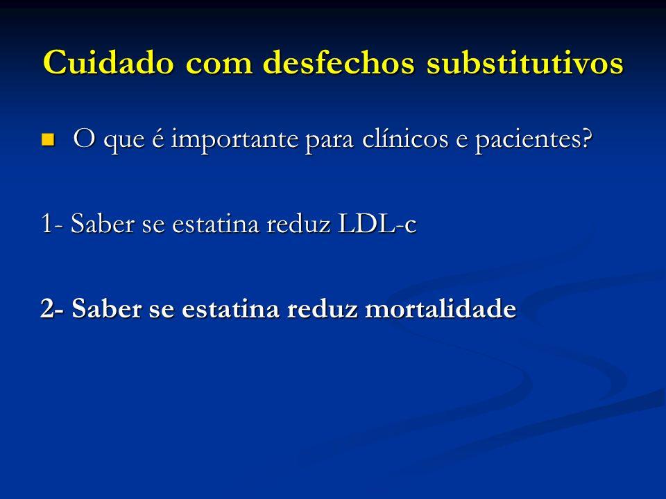 Cuidado com desfechos substitutivos O que é importante para clínicos e pacientes? O que é importante para clínicos e pacientes? 1- Saber se estatina r