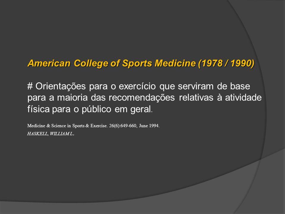 American College of Sports Medicine (1978 / 1990) # Orientações para o exercício que serviram de base para a maioria das recomendações relativas à ati