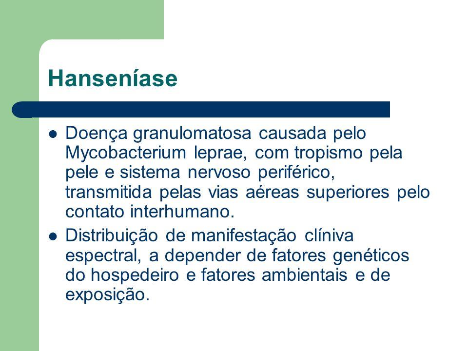 Hanseníase Doença granulomatosa causada pelo Mycobacterium leprae, com tropismo pela pele e sistema nervoso periférico, transmitida pelas vias aéreas
