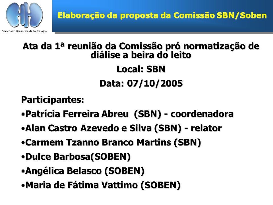 Ata da 1ª reunião da Comissão pró normatização de diálise a beira do leito Local: SBN Data: 07/10/2005 Participantes: Patrícia Ferreira Abreu (SBN) -