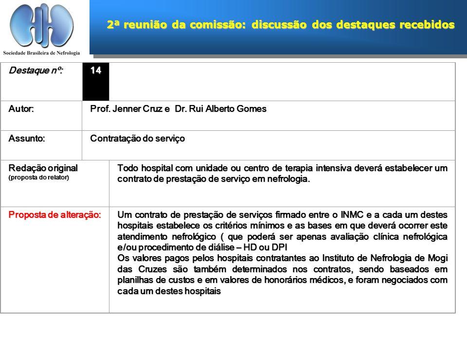 2ª reunião da comissão: discussão dos destaques recebidos Destaque nº: 14 Autor: Prof. Jenner Cruz e Dr. Rui Alberto Gomes Assunto: Contratação do ser