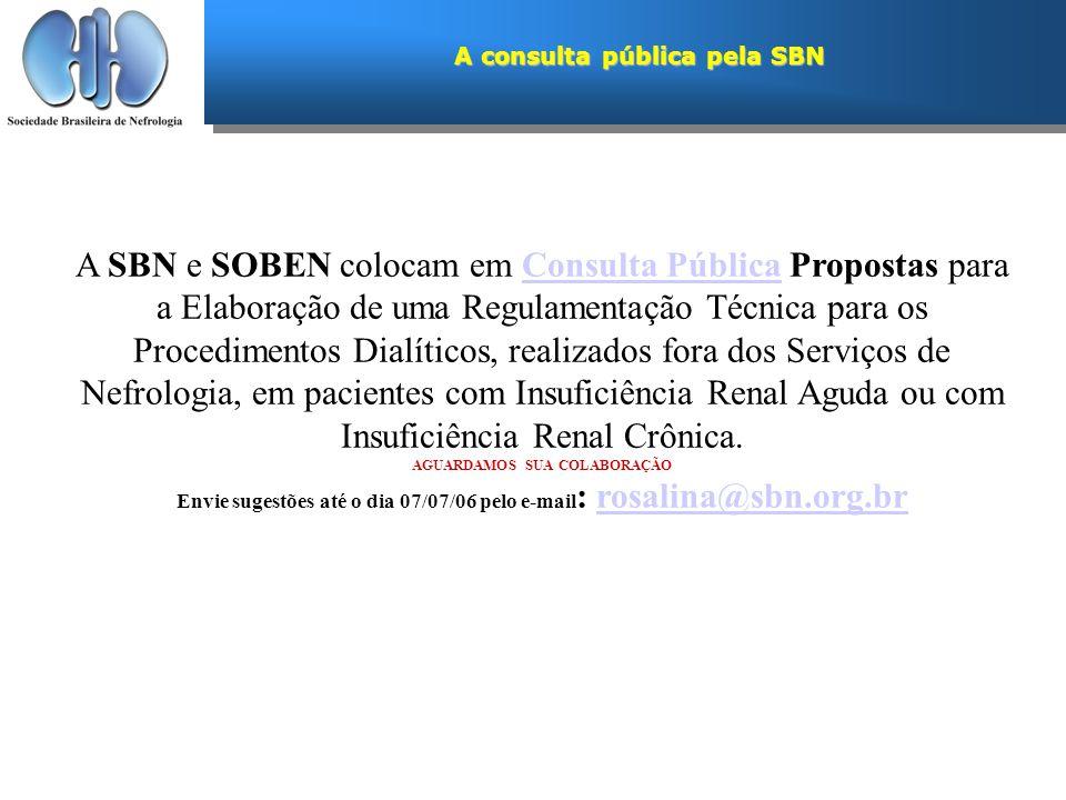 A consulta pública pela SBN A SBN e SOBEN colocam em Consulta Pública Propostas para a Elaboração de uma Regulamentação Técnica para os Procedimentos