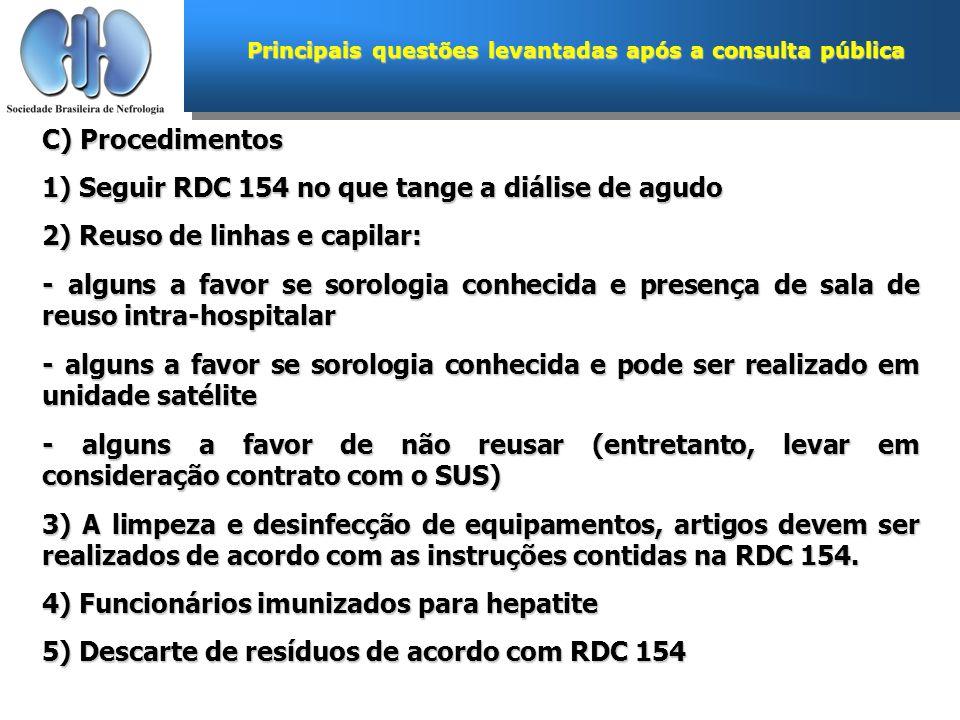 Principais questões levantadas após a consulta pública C) Procedimentos 1) Seguir RDC 154 no que tange a diálise de agudo 2) Reuso de linhas e capilar