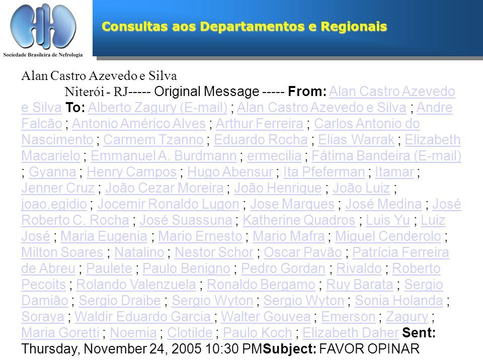 Consultas aos Departamentos e Regionais Alan Castro Azevedo e Silva Niterói - RJ ----- Original Message ----- From: Alan Castro Azevedo e Silva To: Al