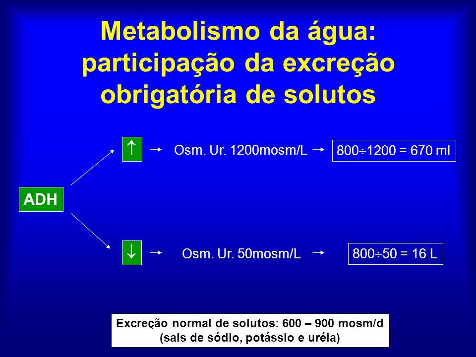 Metabolismo da água: participação da excreção obrigatória de solutos Excreção normal de solutos: 600 – 900 mosm/d (sais de sódio, potássio e uréia) AD