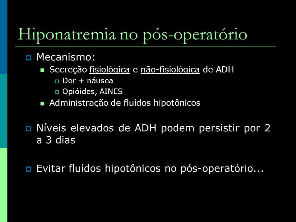 Mecanismo: Secreção fisiológica e não-fisiológica de ADH Dor + náusea Opióides, AINES Administração de fluídos hipotônicos Níveis elevados de ADH pode