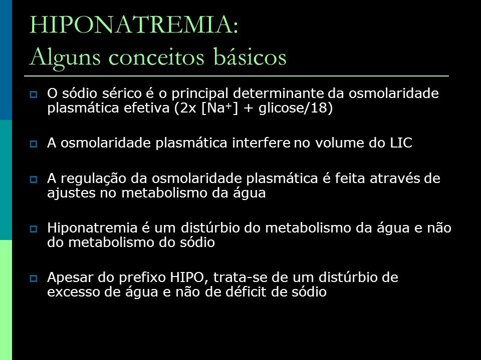 HIPONATREMIA: Alguns conceitos básicos O sódio sérico é o principal determinante da osmolaridade plasmática efetiva (2x [Na + ] + glicose/18) A osmola