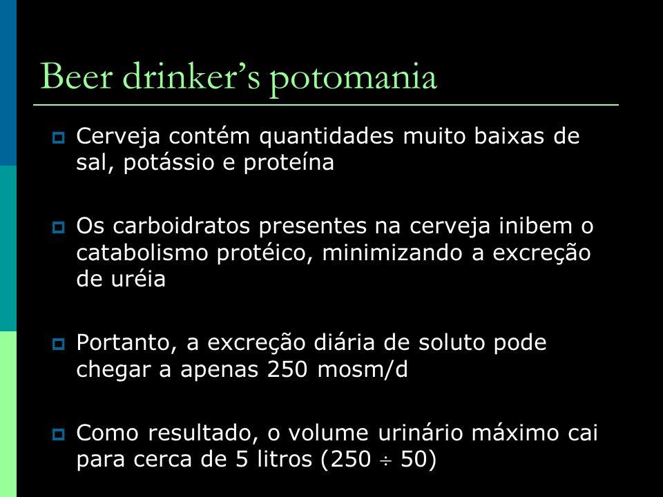 Cerveja contém quantidades muito baixas de sal, potássio e proteína Os carboidratos presentes na cerveja inibem o catabolismo protéico, minimizando a