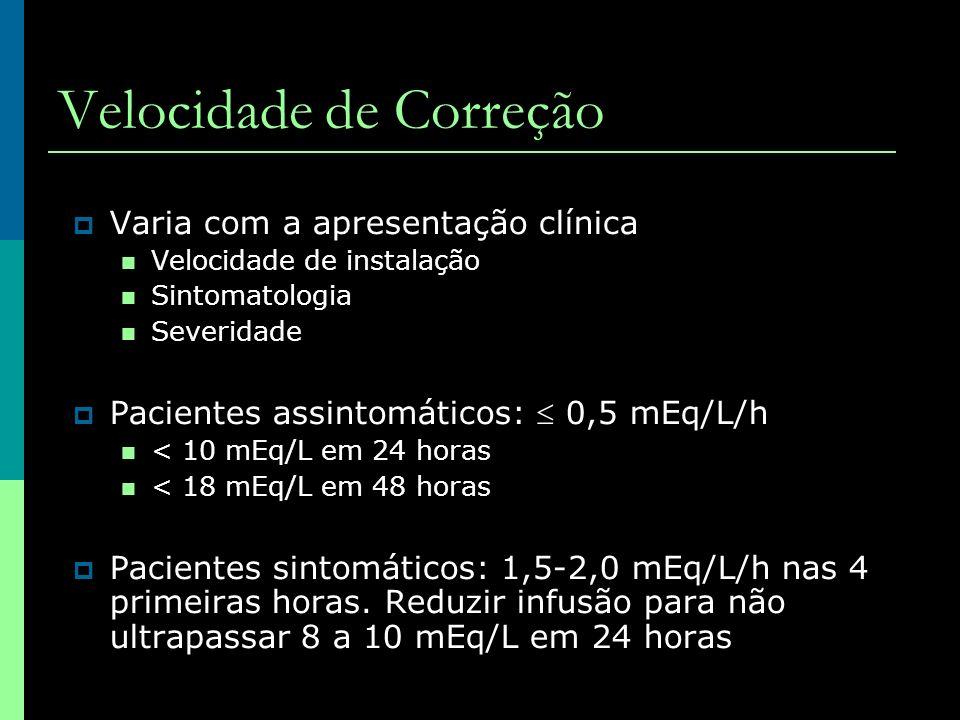 Varia com a apresentação clínica Velocidade de instalação Sintomatologia Severidade Pacientes assintomáticos: 0,5 mEq/L/h < 10 mEq/L em 24 horas < 18