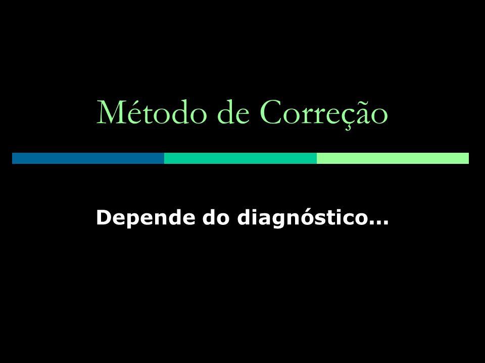 Método de Correção Depende do diagnóstico...