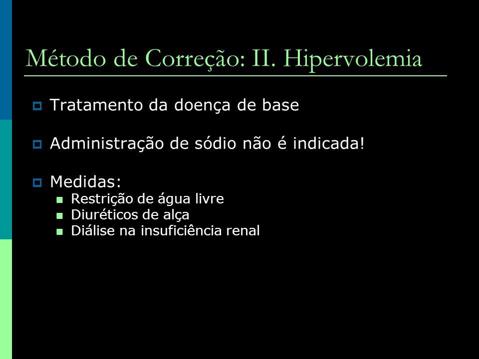 Método de Correção: II. Hipervolemia Tratamento da doença de base Administração de sódio não é indicada! Medidas: Restrição de água livre Diuréticos d