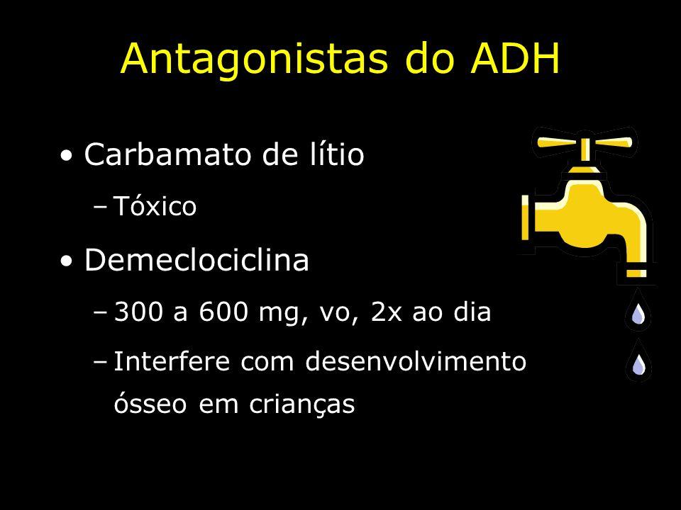 Antagonistas do ADH Carbamato de lítio –Tóxico Demeclociclina –300 a 600 mg, vo, 2x ao dia –Interfere com desenvolvimento ósseo em crianças