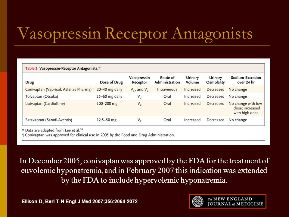 Ellison D, Berl T. N Engl J Med 2007;356:2064-2072 Vasopressin Receptor Antagonists In December 2005, conivaptan was approved by the FDA for the treat