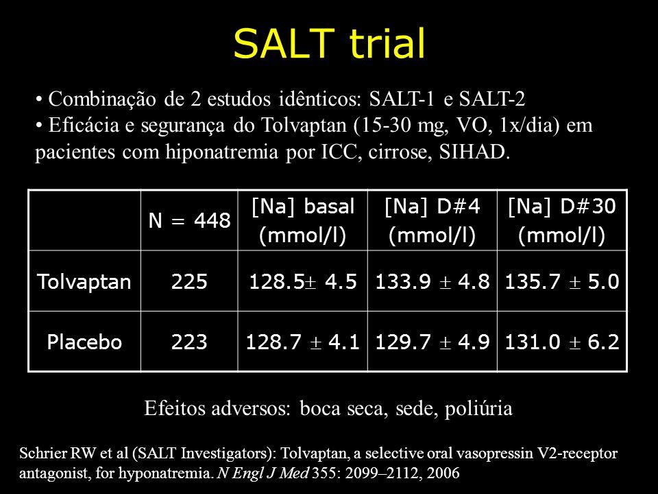 SALT trial Schrier RW et al (SALT Investigators): Tolvaptan, a selective oral vasopressin V2-receptor antagonist, for hyponatremia. N Engl J Med 355: