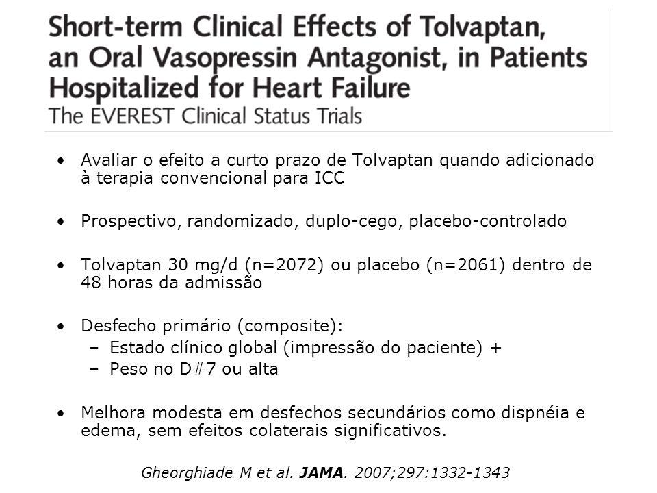 Avaliar o efeito a curto prazo de Tolvaptan quando adicionado à terapia convencional para ICC Prospectivo, randomizado, duplo-cego, placebo-controlado
