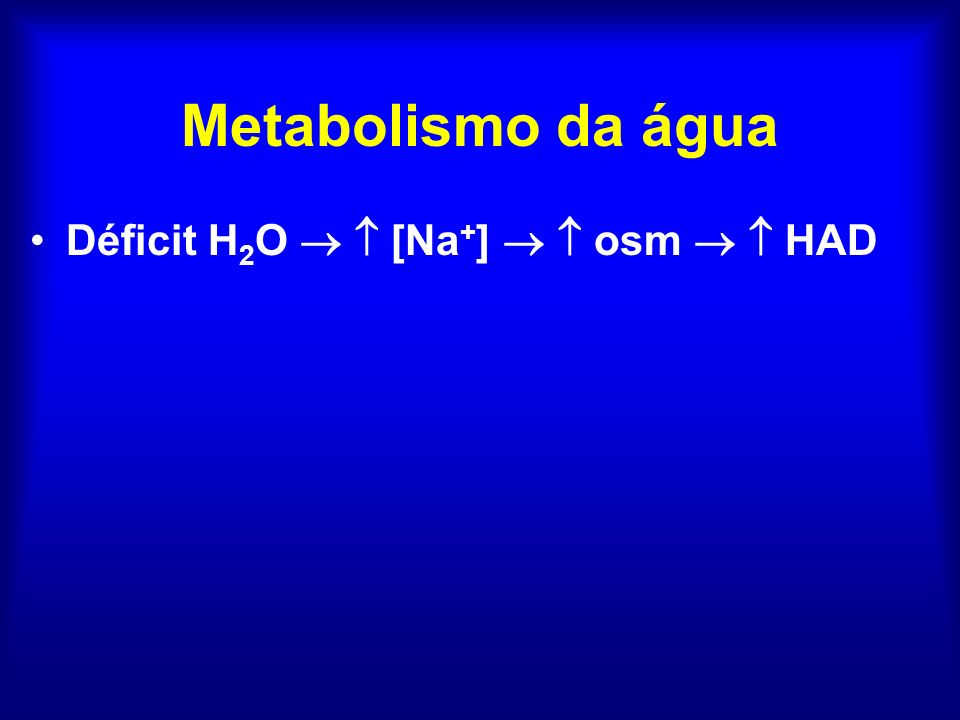 Metabolismo da água Déficit H 2 O [Na + ] osm HAD