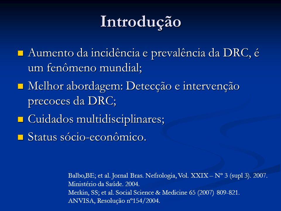 Introdução Aumento da incidência e prevalência da DRC, é um fenômeno mundial; Aumento da incidência e prevalência da DRC, é um fenômeno mundial; Melho