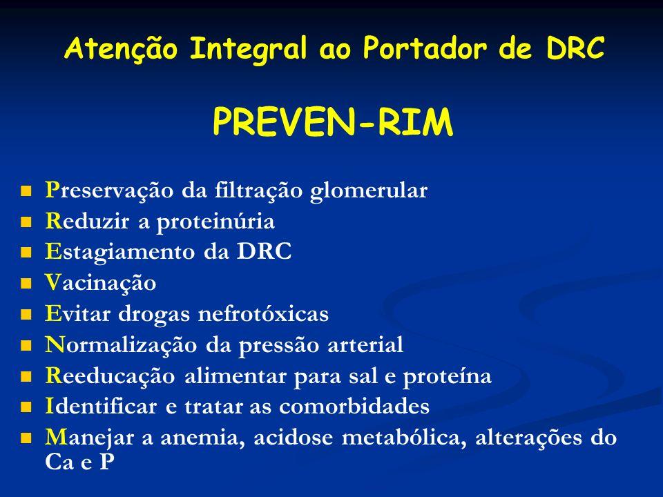 Atenção Integral ao Portador de DRC Preservação da filtração glomerular Reduzir a proteinúria Estagiamento da DRC Vacinação Evitar drogas nefrotóxicas
