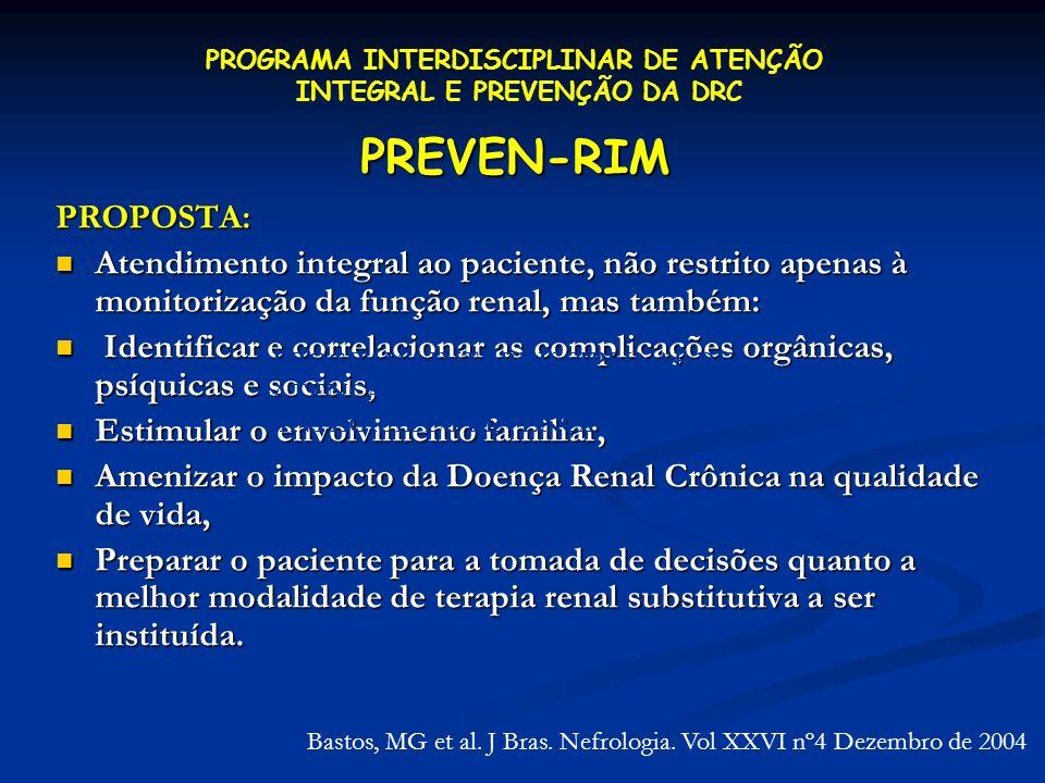 PREVEN-RIM PROPOSTA: Atendimento integral ao paciente, não restrito apenas à monitorização da função renal, mas também: Atendimento integral ao pacien