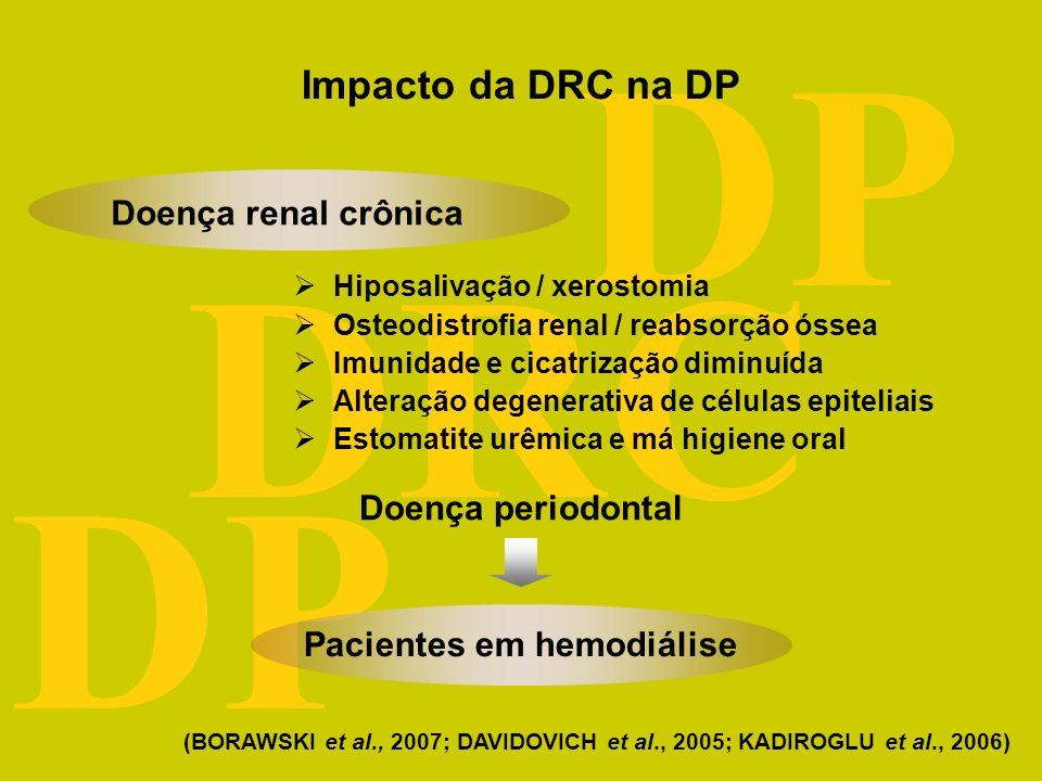 DRC DP Doença renal crônica Doença periodontal Hiposalivação / xerostomia Osteodistrofia renal / reabsorção óssea Imunidade e cicatrização diminuída Alteração degenerativa de células epiteliais Estomatite urêmica e má higiene oral Pacientes em hemodiálise (BORAWSKI et al., 2007; DAVIDOVICH et al., 2005; KADIROGLU et al., 2006) Impacto da DRC na DP