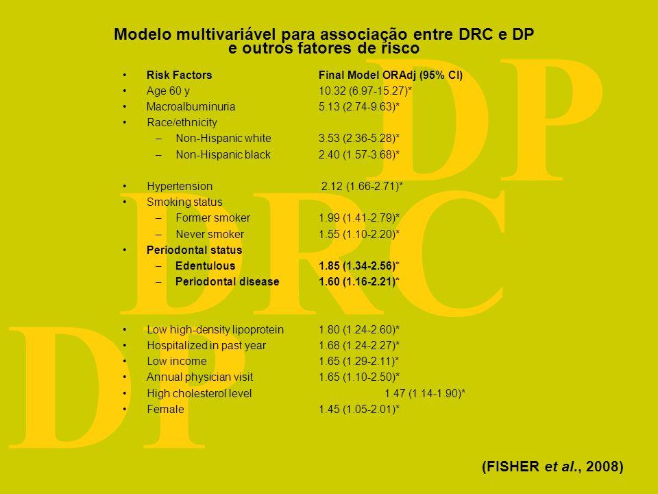DRC DP Resposta sistêmica da DP Doença periodontal (DP) Interleucina 1 Interleucina 6 P C reativa F N tumoral Doença Renal Crônica (DRC) Hemodiálise e Pré-diálise (CRAIG et al., 2007; ELSAYED, TIGHIOUART, GRIFFITH, 2007) Marcadores inflamatórios