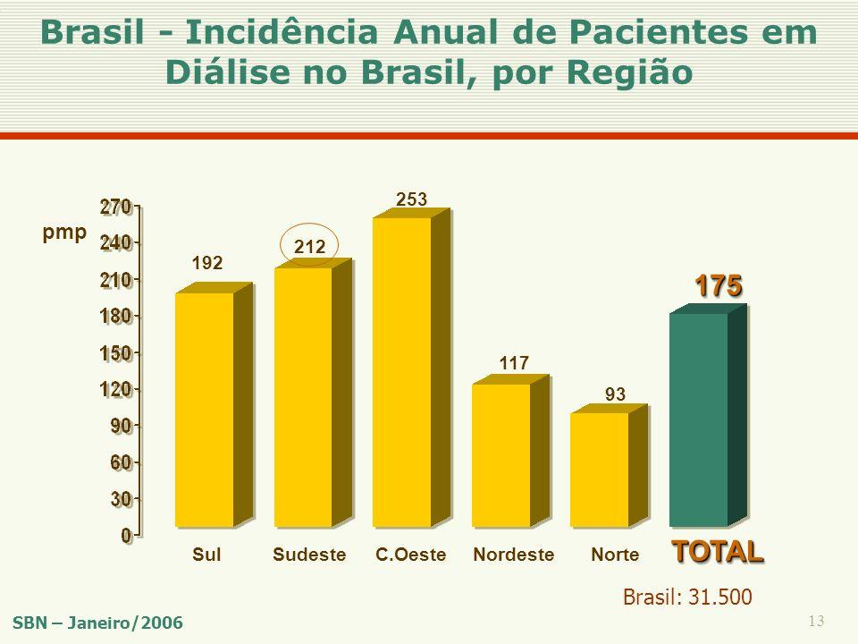 13 Sul 192 pmp Sudeste 212 C.Oeste 253 Nordeste 117 Norte 93 TOTALTOTAL 175175 Brasil - Incidência Anual de Pacientes em Diálise no Brasil, por Região