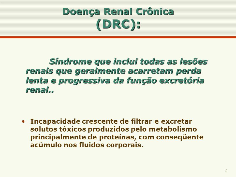 2 Síndrome que inclui todas as lesões renais que geralmente acarretam perda lenta e progressiva da função excretória renal.. Doença Renal Crônica (DRC