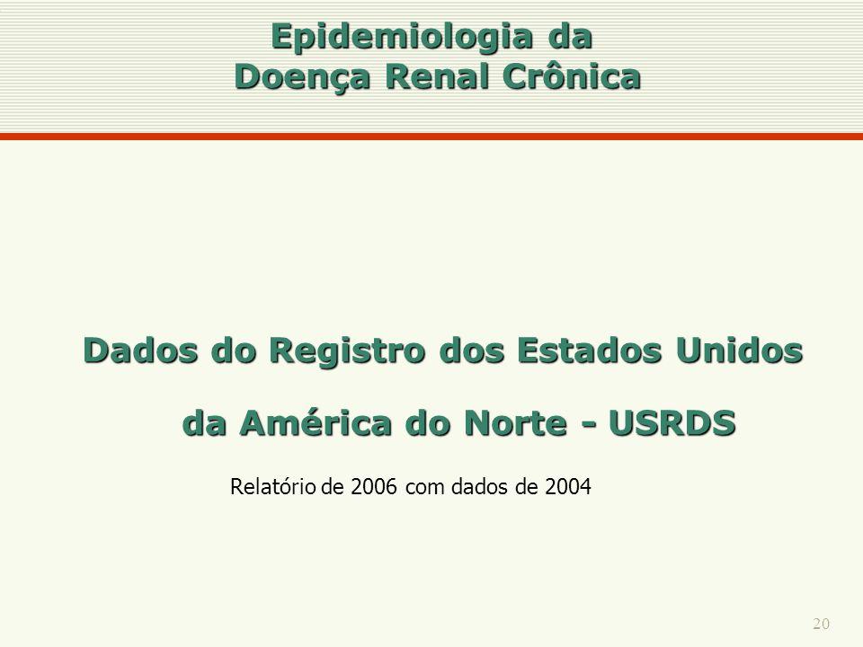 20 Epidemiologia da Doença Renal Crônica Dados do Registro dos Estados Unidos da América do Norte - USRDS Relatório de 2006 com dados de 2004