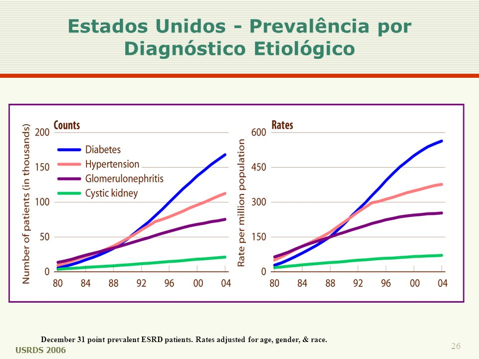 26 December 31 point prevalent ESRD patients. Rates adjusted for age, gender, & race. Estados Unidos - Prevalência por Diagnóstico Etiológico USRDS 20