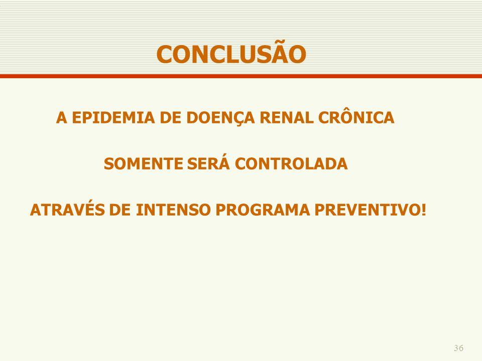 36 A EPIDEMIA DE DOENÇA RENAL CRÔNICA SOMENTE SERÁ CONTROLADA ATRAVÉS DE INTENSO PROGRAMA PREVENTIVO! CONCLUSÃO