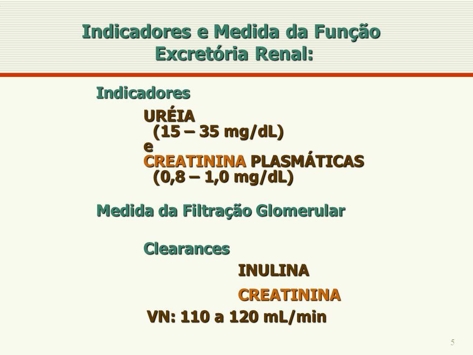 5 URÉIA (15 – 35 mg/dL) (15 – 35 mg/dL)e CREATININA PLASMÁTICAS (0,8 – 1,0 mg/dL) (0,8 – 1,0 mg/dL) Medida da Filtração Glomerular ClearancesINULINACR