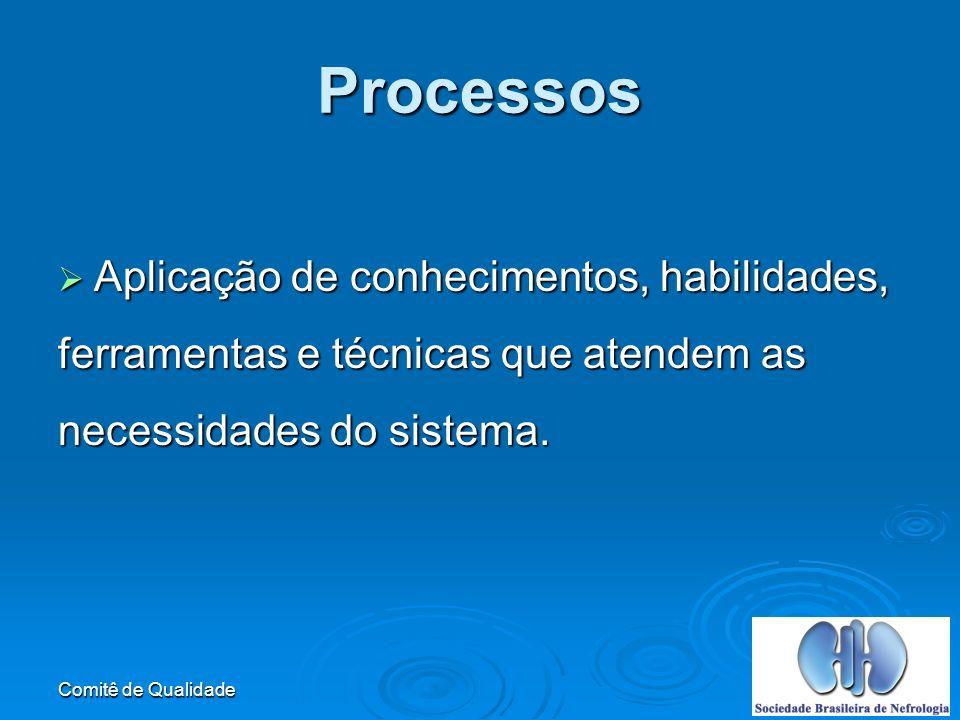 Comitê de Qualidade Processos Aplicação de conhecimentos, habilidades, Aplicação de conhecimentos, habilidades, ferramentas e técnicas que atendem as necessidades do sistema.